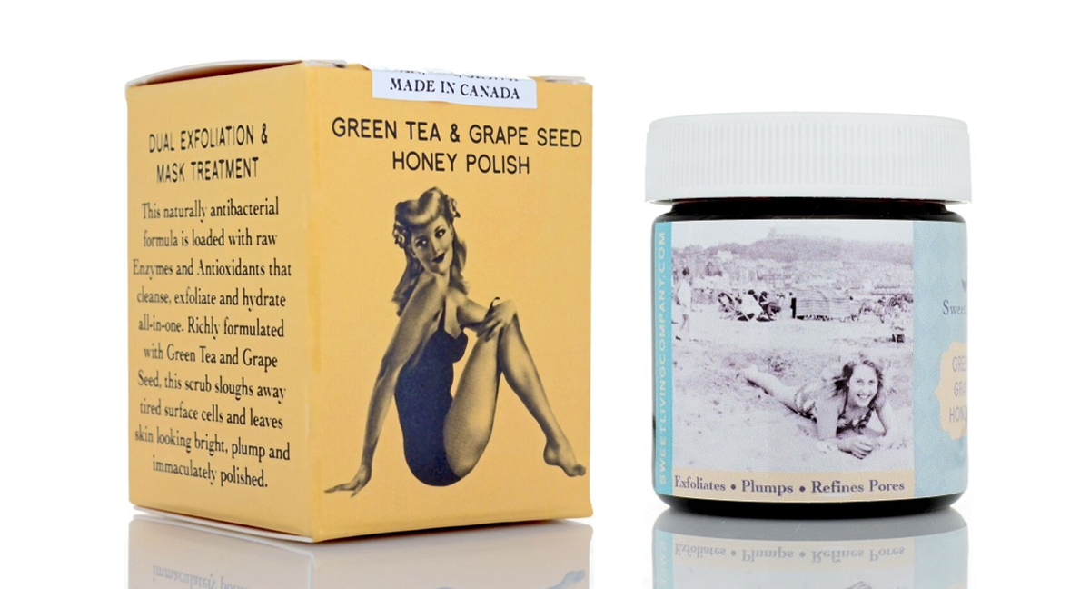 Green Tea & Grape Seed Honey Polish. The best micro-exfoliation and honey mask treatment. Sweet Living Co. The best organic anti-aging skincare. Handmade in Calgary. Based on family heirloom recipes.